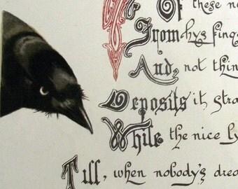 ca. 1880 - Jackdaw Rhymes - Crow Raven. Original Antique Chromolithography. Art. Poems. Literature.