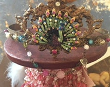 Bronze Royal Peacock Crown Jeweled With Antique Rhinestones