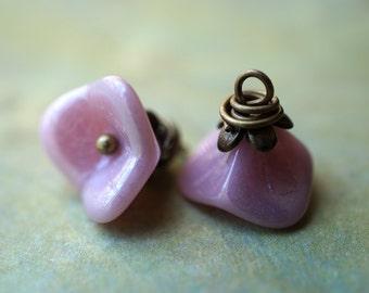 Silky Pink Wildflower, Flower Charms, Findings, Czech Beads, N1866