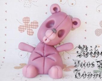 Edible 3D Zombie Teddy Bear Cake Decoration Fondant Topper , Birthday Cake Toppers , Zombie Theme Fondant Topper , Horror Topper