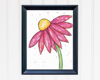 Pink Daisy Art Print. Daisy Wall Art. Watercolor Flower. 8x10 Art Print. Mother's Day Gift. Nursery Wall Art. Gift for Mom. Gift for Her.