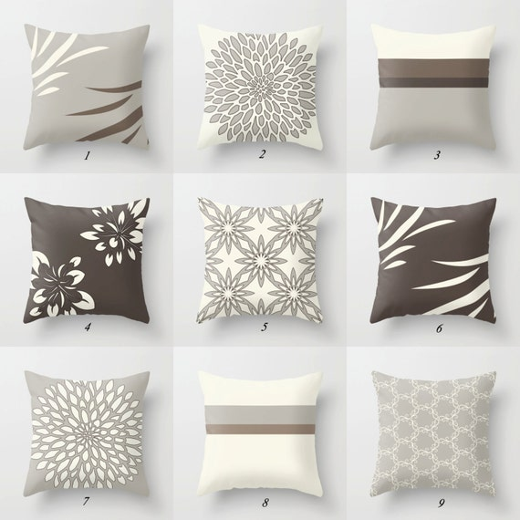 Beige pillow brown pillow covers greige pillow gray pillow for Throw pillow covers