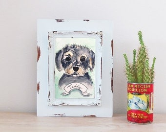 CUSTOM Pet Portrait Mixed Breed Dog Watercolor Illustration
