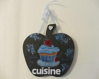 "Door plate for cooking apple forma "" cupcake"" blue"