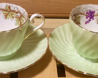 2 available: Aynsley Mint Green Swirled Teacup and Saucer