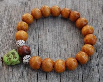 Buddha Head Wood Bracelet,12mm Beads,Stretch,Buddhist Rosary Bracelet,Man,Woman,Pray,Boho,Yoga,Spirituality,Protection,Meditation