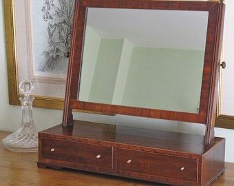 Early-19thC Mahogany & Boxwood Strung Dressing Mirror