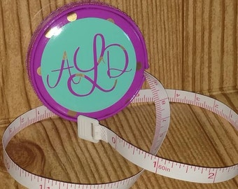 Retractable Tape Measure Personalized with Monogram. Purple and Mint. Measuring Tape. Seamstress Tape. Sewing Tape. Personalized Gifts.
