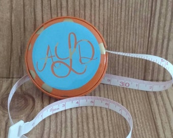 Retractable Tape Measure Personalized with Monogram. Orange and Ice Blue.  Measuring Tape. Seamstress Tape. Sewing Tape. Personalized Gifts.