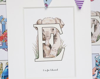 Alphabet Pictures - E : Personalised Prints