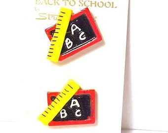 Back to School buttons Set of 2 Size 1""
