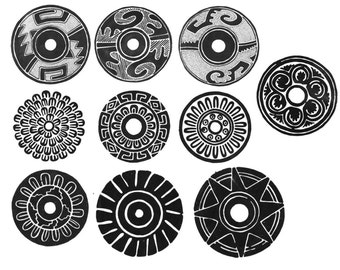 Photoshop brushes, Mexican designs tribal patterns, large format circles
