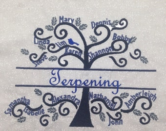 Custom Embroidery Family Tree Mother's Day, Anniversary, Wedding gift
