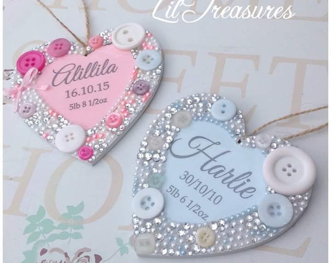 Personalised hanging heart. Embellished | Wood | New baby gift's | Baptism gift | Birthday | any colours | kids signs | baby gift | Plaque