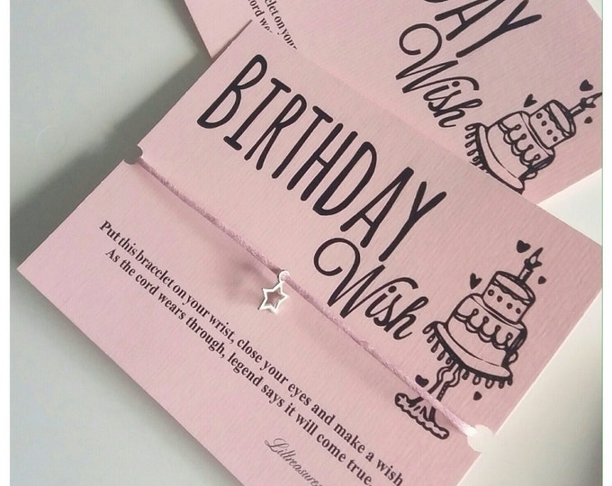 Birthday wish bracelet | Friendship Bracelet | Wish band | Christmas Gift | Charm Bracelet & Card. Can be personalised.