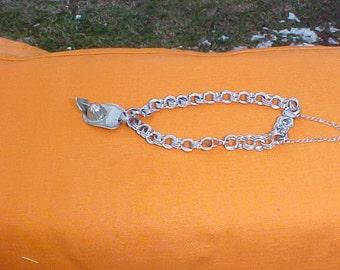"Vintage 7 1/2"" Sterling triple loop Charm Bracelet with firemans hat charm"