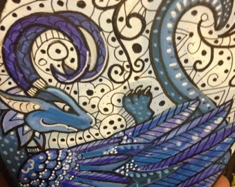Blue Feathered lazy dragon painting