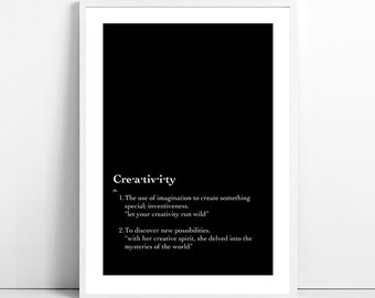 Creativity (quote, text, black and white, print, digital print, unframed, instant download)
