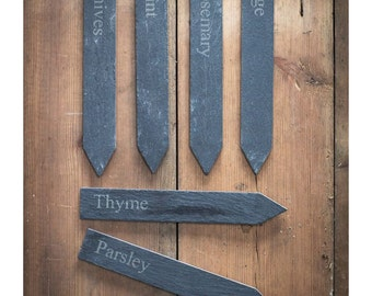 Slate Vegetable Garden Markers and Slate Herb Garden Markers. Sets of six.