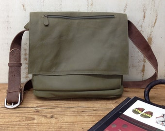 SALE!!! Green Leather messenger bag women leather bags Leather Crossbody bag Crossbody purse front pocket bag Handmade with Love!!