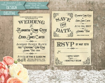 Printable Wedding Kit - Classic Vintage - Digital File - Invite, Save the Date, RSVP Card - Customizable