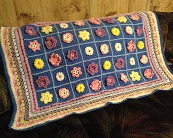 Handmade Crocheted Afghan, Flower Garden
