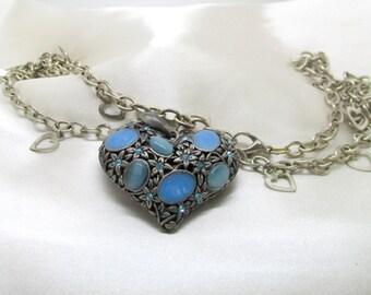 Vintage Blue Moonglow & Blue Rhinestone Heart Necklace