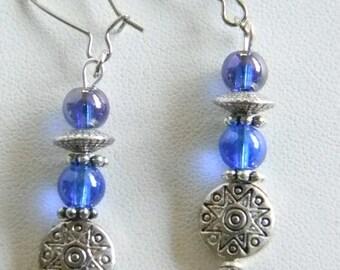 Silver Tone Purple Blue Glass Beaded Pierced Earrings