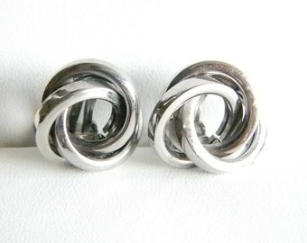 Silver Tone Twisted Knotted Cluster Clip Earrings