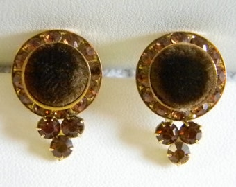 Vintage Round Brown Velvet Amber Rhinstones Pierced Earrings