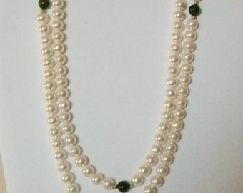 White Faux Pearl Green Round Stone Gold Accents Necklace
