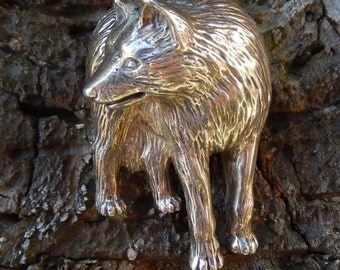 Carol Felley dimensional wolf pin.  Huge sterling silver dimensional lone wolf pin rare, sold out Wolf lovers.
