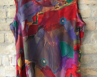 Hilary Banks top - Handpainted stone washed Silk Top