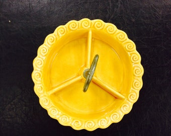 Sunny yellow divided dish by California Pottery