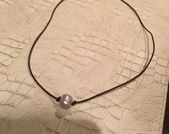 Fresh water single pearl leather Necklace.