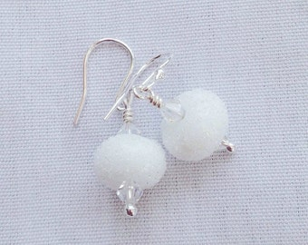 Snow and ice earrings, GoT, winter is coming, white lampwork earrings with Moonlight Swarovski elements and Sterling silver, icicle earrings