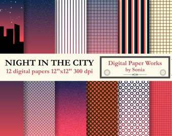 """Night in the city on digital paper for creative works, invitations, cards, organizers. Files ready to be printed. 12 sheets 12"""" x 12""""."""