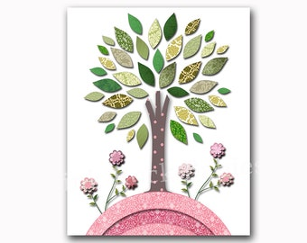 Green tree, children room decor, baby room decor, kids room decor, nursery room decor, baby nursery art print, tree nursery pink decoration