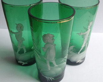 Three Antique Tumblers in The Legacy of Mary Gregory