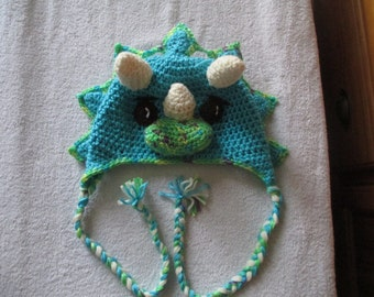 TRICERATOPS Crocheted Hat, Dinosaur Hat, All Sizes