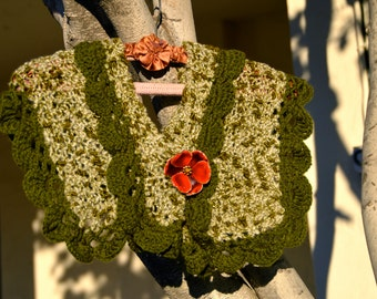 Hand-knit, Victorian, Cream and Sage Green Shawl