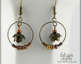 earrings,dangle,hoop,antique bronze,flower earrings,memory wire flower earrings,metallic seed beads,female gift ,woodland earrings,flower