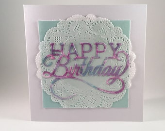 Birthday cards for her, paper handmade greeting card, handmade card, paper goods