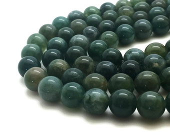 8mm Natural Moss Agate Beads Round 8mm Moss Agate 8mm 8mm Agate 8mm Agate Green Agate Beads Green Beads 8mm Green Beads