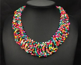 Big necklaces collars beaded Indian jewelry  antique string bead necklace #2