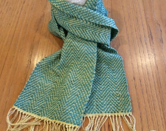 Handwoven turquoise and gold chenille scarf