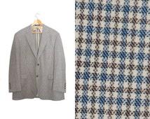 Vintage plaid blazer. Mens jacket. Sports coat. Mad men blazer. Mens brown beige blue blazer. Made in U.S.A by Austin Reed. Blazer size 44R.