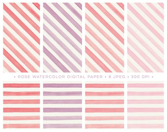 Watercolor Stripes Digital Paper pack. Horizontal and diagonal watercolour textures scrapbooking backgrounds. Perfect for cards and invites
