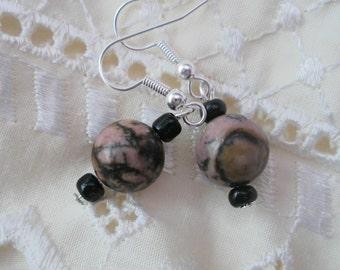 Gem stone earring, pink rhodonite, drop earring, semi precious gemstone , unique design. birthday gift, ladies presents