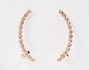Ear Cuff,Fashion Ear Cuff,Rhinestone Wrap Earrings,Wrap Earrings,Gold Plated Earrings,Feminine Style Wrap Earrings,Rhinestone Ear Cuff,Gift